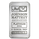 5 oz Platinum Johnson Matthey Bar .9995+ Fine