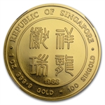 Singapore 1988 100 Singold 1 oz Gold Dragon NGC MS-69