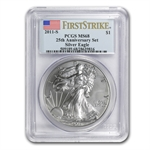 2011-S Silver Eagle 25th Anniv MS-68 PCGS (FS) Blue Label