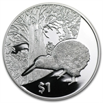 2013 1 oz Silver Proof New Zealand Treasures $1 Kiwi Coin