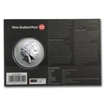 2013 1 oz Silver New Zealand Treasures $1 Kiwi Coin Display Card