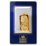 1/2 oz Fortuna Rectangular-Shaped Pamp Suisse Gold Pendant