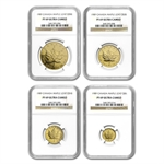 1989 4-Coin Commemorative Gold Maple Leaf Proof Set NGC PF-69