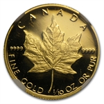 1989 1/10 oz Proof Gold Canadian Maple Leaf PF-69 NGC