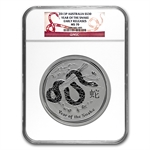 2013 1 Kilo 32.15 oz Silver Year of the Snake (SII) NGC MS-70 ER