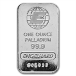 1 oz Engelhard Palladium Bar ('E' Logo, w/out Assay) .999 Fine