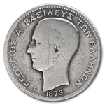 Greece 1873-A Drachma Silver Avg Circ