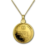 Israel Parting of the Red Sea Gold Necklace - AGW 0.06935 oz