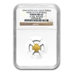 1854 Arms of California Fractional Gold Token MS-63 Round NGC