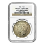 1922-D Peace Dollar AU-58 NGC Mint Error - Obverse Lamination