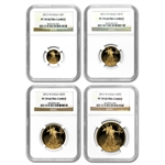 2012-W 4-Coin Proof Gold American Eagle PF-70 NGC Registry Set