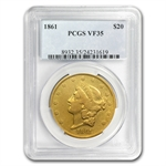1861 $20 Gold Liberty Double Eagle - VF-35 PCGS