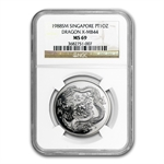 1988 1 oz Singapore Platinum Dragon X-MB44 (MS-69 NGC)