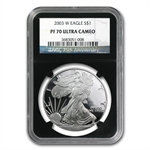 2003-W Proof Silver American Eagle PF-70 NGC (Retro Black Insert)