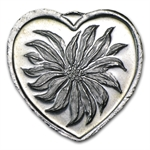 1/4 oz Silver Heart - Poinsettia - .999 Fine