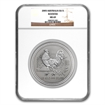 2005 1/2 kilo Silver Lunar Year of the Rooster (SI) MS-69 NGC