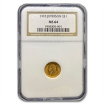 1903 $1.00 Gold Louisiana Purchase - Jefferson MS-64 NGC