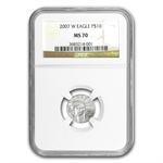 2007-W 4-Coin Burnished Platinum Eagle MS-70 NGC Registry Set