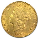 1901 $20 Gold Liberty Double Eagle - AU-50 PCGS