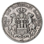 Hamburg Germany 19th Century 5 Mark ASW .8037