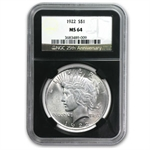 1922-1925 Peace Dollars - MS-64 NGC Black Holder - 25th Ann