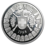 1988 1 oz Swiss Platinum Shooting Thalers (Proof)
