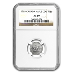 1993 1/10 oz Canadian Platinum Maple Leaf (MS-69 NGC)