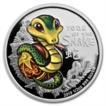 2013 Tuvalu Colorized Baby Snake 1/2 oz Silver Proof Coin