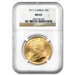 1971 1 oz Gold South African Krugerrand   NGC MS-65
