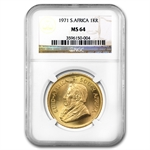 1971 1 oz Gold South African Krugerrand NGC MS-64