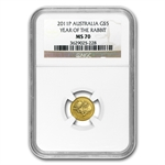 2011 1/20 oz Gold Lunar Year of the Rabbit (Series II) MS-70 NGC