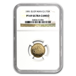 Isle of Man 1991 1/10 oz Gold Angel    NGC PF-69 UC