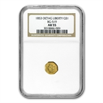 1853 BG-519 Liberty Octagonal One Dollar Gold AU-55 NGC