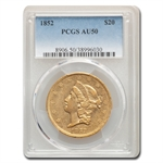 1852 $20 Gold Liberty Double Eagle - AU-50 PCGS