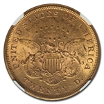1875-S $20 Gold Liberty Double Eagle - MS-61 NGC