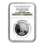 1987 1 oz Swiss Platinum William Tell (PF-70 UCAM NGC)
