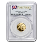 Great Britain 2011 Gold Sovereign PCGS PR-70DC 1st Strike