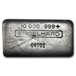 10 oz Engelhard Silver Bar (Wide, Poured, Vintage) .999 Fine