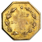1870 BG-922 Liberty Octagonal 50 Cent Gold Unc Details - Cleaned
