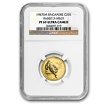 Singapore 1987 1/4 Oz Gold Rabbit    NGC PF-69UC