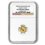 Singapore 1987 1/20th Oz Gold Rabbit NGC PF-69UC