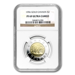 1996 Polar Bear Canadian $2 Bimetal Proof NGC PF-69 UCAM
