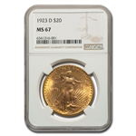 1923-D $20 St. Gaudens Gold Double Eagle - MS-67 NGC