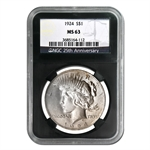 1922-1925 Peace Silver Dollar Set 4 Coins MS-63 NGC Black Holders