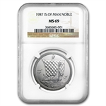 1987 1 oz Isle of Man Platinum Noble (MS-69 NGC)