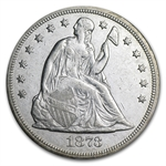 1873 Liberty Seated Dollar Almost Uncirculated Details - Cleaned