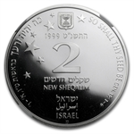 1999 Israel Stars/ Holy Land Proof Silver 2 NIS PF-69 NGC
