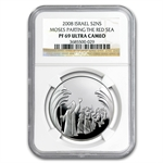 2008 Israel Parting of the Sea Proof Silver 2 NIS PF-69