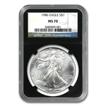 1986 Silver American Eagle - MS-70 NGC - Retro Black Holder