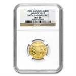 2012 1/4 oz Gold Canadian $10 - War of 1812 - MS-69 NGC